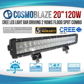 "Cosmoblaze 20"" 120W CREE LED Light Bar Driving 2 rows FLOOD SPOT COMBO"