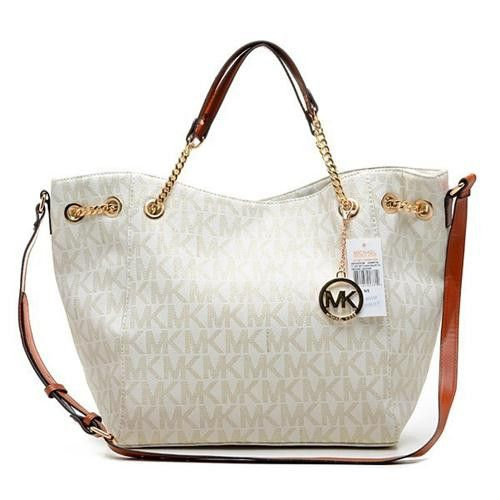 Michael Kors Chain Large Vanilla Totes Outlet