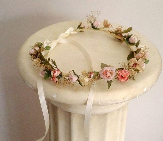 Dried Flower Girl Halo Bride Crown Fairy Wedding Accessories Peach Coral Hair Crown Champagne Tiara Headband