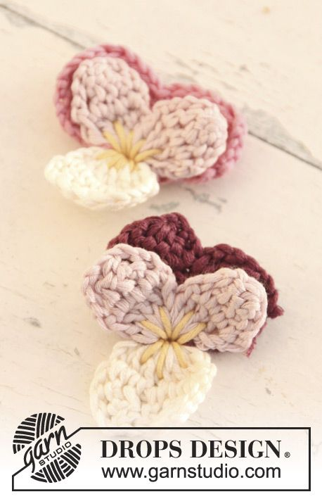 "I'd do these in deep purple, of course  Crochet DROPS Wittrock's violets in ""Muskat"". ~ DROPS Design"