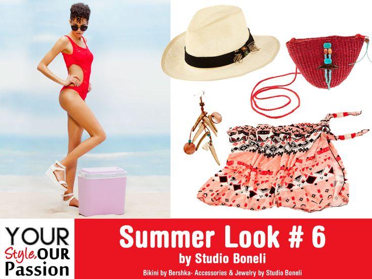 "Summer Look #6 by Studio Boneli! ""Red and Hot"" Sexy ολόσωμο μαγιό συνδυασμένο με αξεσουάρ σε γήινους τόνους, για μοναδικό Jungle look!  #YSOP #Summertime #Fashion #Style"