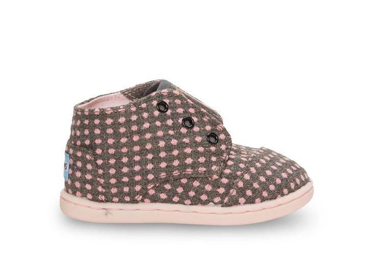 Pink Wool Dot Tiny TOMS Paseo Mids