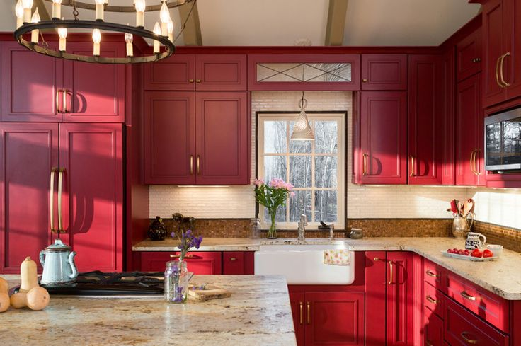 Farmhouse Kitchen by New England Design Elements - the red cabinets give it such a warm feel, family farm feel