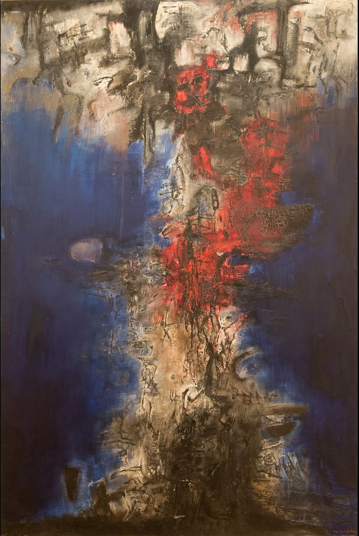 Zao Wou-Ki, French, born China 1921. The Night is Stirring (La nuit remue), 1956 . Oil on linen.