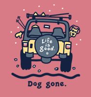 """All Things Jeep - Life is Good Long Sleeve Woman's T-Shirt - """"Dog Gone"""" on Berry"""