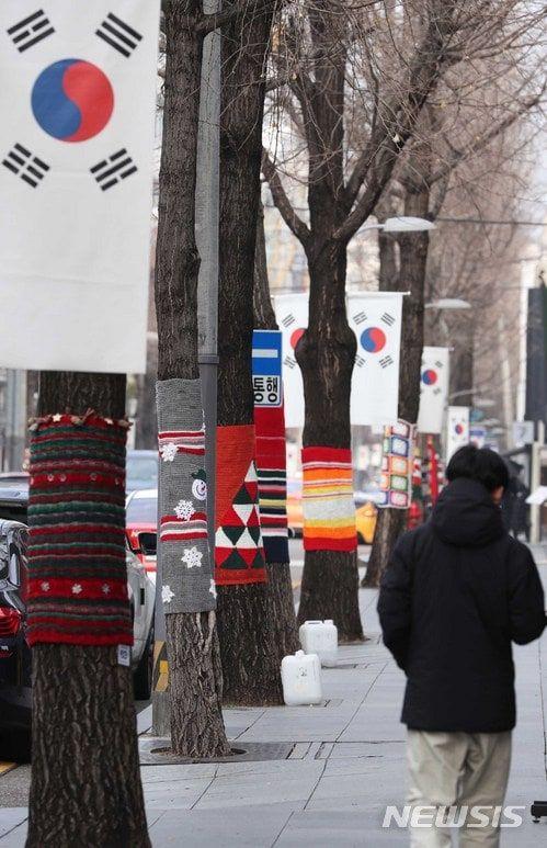 【서울=뉴시스】고승민 기자 = 26일 오전 서울 강남구 신사동 가로수길 일대 은행나무에 손뜨개 옷이 입혀져 있다. 이를 '그래피티 니팅(Graffiti Knitting)'이라 부르는데, 신사동 주민들이 털실로 직접 짠 겨울옷으로 설치했다. 가로수길 680m 구간 양쪽