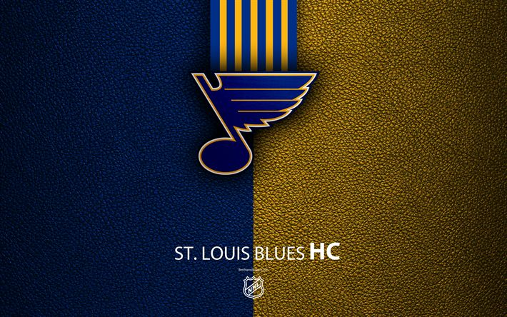 Download wallpapers St Louis Blues, HC, 4K, hockey team, NHL, leather texture, logo, emblem, National Hockey League, St Louis, Missouri, USA, hockey, Western Conference, Central Division