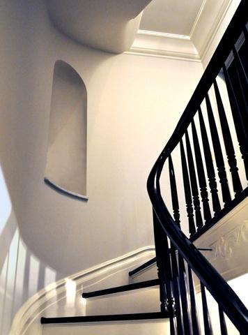 Black painted stair rail