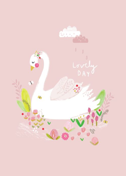 Aless Baylis for Petite Louise  #illustration #swan #poster #postcard #print