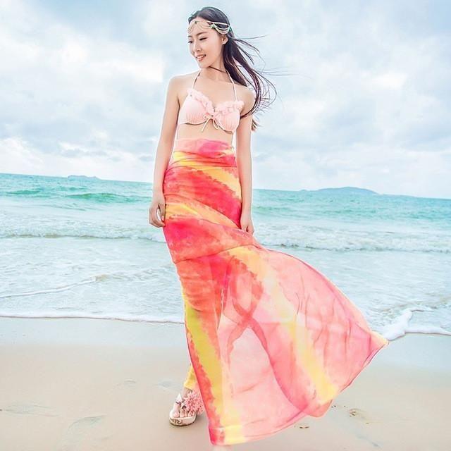 2017 New! Women's Long Striped Rainbow Print Chiffon Scarves Sarongs Hijab Beach Swimsuit Cover Up Bikini Scarf DQ02