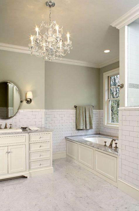 Suzie Hendel Homes Gorgeous Green Bathroom With Sage Paint Color Subway Tiles Backsplash Love The Colour Bathrooms Bath