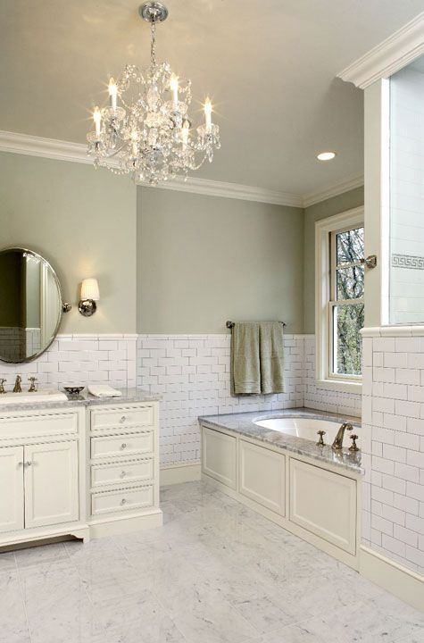 Suzie Hendel Homes Gorgeous Green Bathroom Sage Paint Color Subway Tiles Backsplash