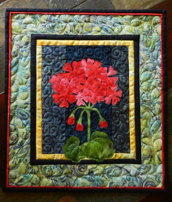 Geranium Quilted Wall Hanging Batik Art Quilt Batik by LyndiArt, $47.00
