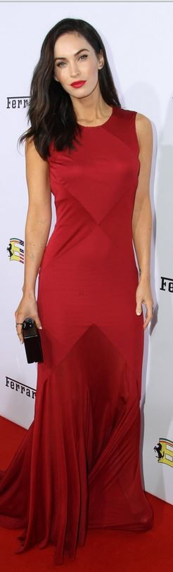 Who made Megan Fox�s jewelry, clutch handbag, and red gown that she wore in Beverly Hills on October 11, 2014