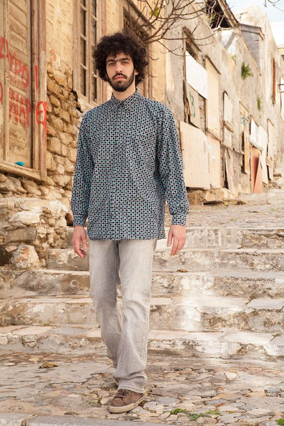 Vintage Geometric Pattern Cord Shirt, Men, Blue-Aqua-Brown, 100% Cotton, XL
