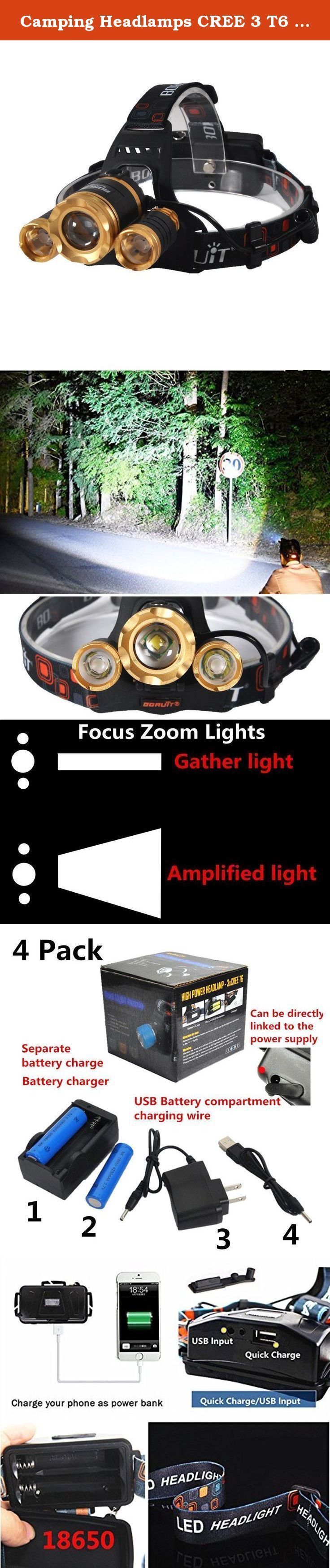Camping Headlamps CREE 3 T6 5000 Lumen Zoomable Super Bright,Headlight Bicycle LED Flashlight,4 Modes,USB Rechargeable Batteries,Adjustable (Focus Zoom Lights, Golden). Package comes with 1x headlamp, 1x wall charger, 1x USB cable,1xbattery charger, 2x 18650 batteries. Features: Product weight: 300g, 10.6 oz Item Type: Headlamps Purpose: Camping Light Source: CREE T6 *3 Model of LED Beads: T6 Battery Type: Lithium Ion Wattage: 20 w Waterproof: Yes Light Color: White Switch Mode:...