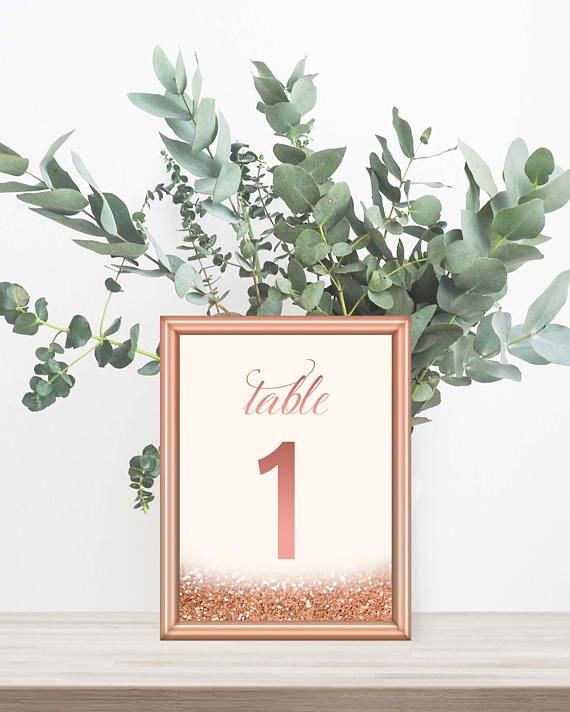 1-30 Rose Gold Table Numbers Printable Rose Gold Wedding Decor