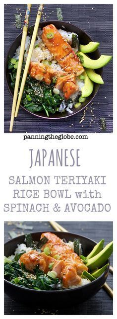 Teriyaki Salmon Rice Bowl: A whole healthy delicious meal in a bowl - Salmon, spinach, sushi rice and teriyaki sauce - garnished with avocado and sesame-nori confetti.