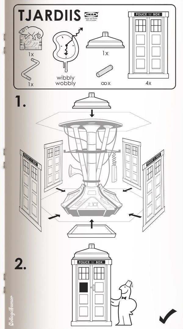 Ikea manual for Doctor Who's Tardis (awww the little chameleon circuit)