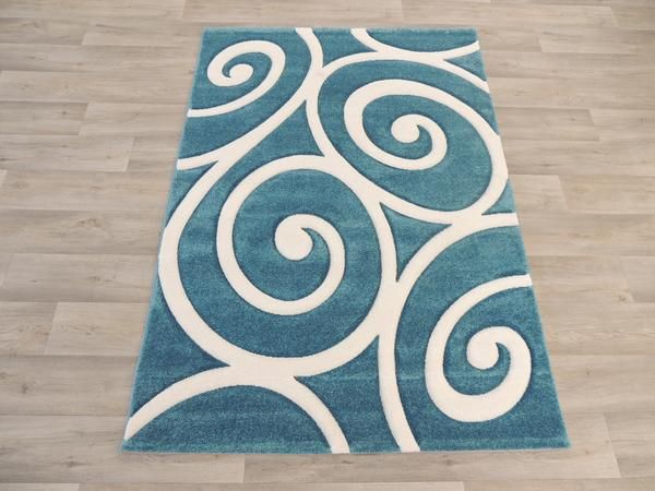 Teal & White Koru Design Modern Turkish Rug Size: 120 x 170cm