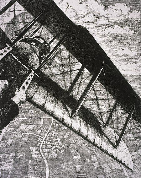C.R.W Nevinson Building Aircraft: Banking at 4,000 Feet (from the series 'The Great War: Britain's Efforts and Ideals') Dated 1917 (published 1918)