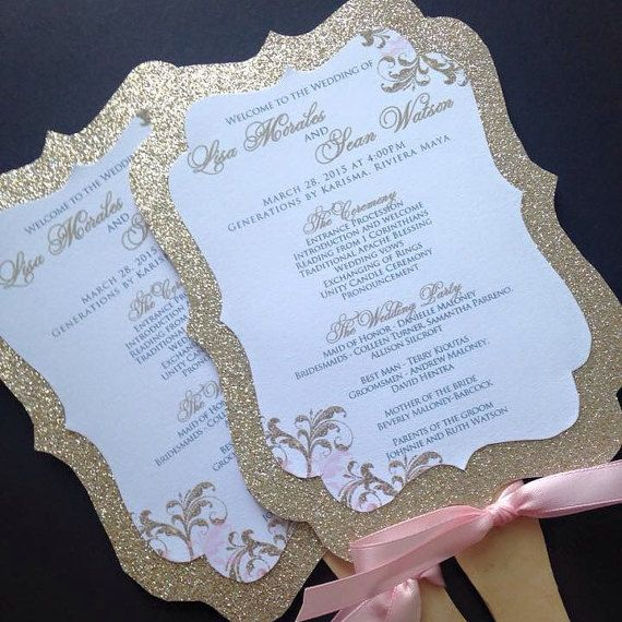 Wedding Fan Programs  Glitter Wedding Fan Programs by JaxDesigns27