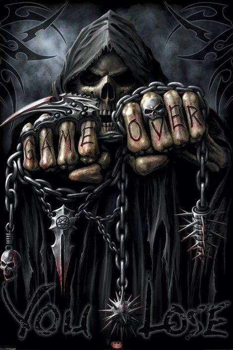 "Well, when the Grim Reaper says it at the end of your life, there is no clearer image than this to describe it! ""Game Over, You Lose!"": Games, Spirals, Posters Prints, Tattoo Artists, Google Search, Grim Reaper Tattoo, Over You, Horror Art Posters, Reaper Art"