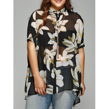 Chic Plus Size Batwing Sleeve Floral Shirt (BLACK,XL) in Tops | DressLily.com
