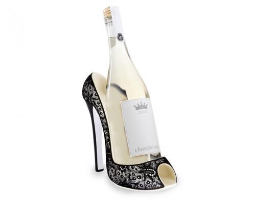 ワインキャディ ハイヒールレース    黒レースのハイヒールがセクシーなワインホルダー。  スタンダードサイズのワインボトル1本が入ります。