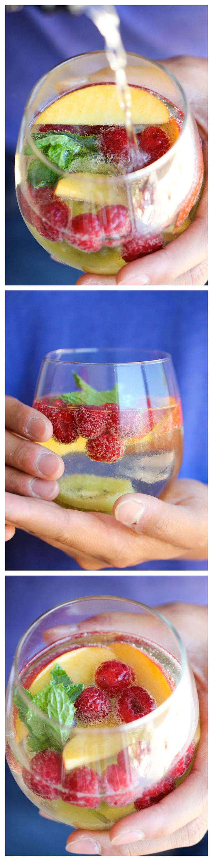 White Sangria Sparkler ~ A refreshing, bubbly sangria loaded with tons of gorgeous fruity goodness. And it takes 10 min to put together!
