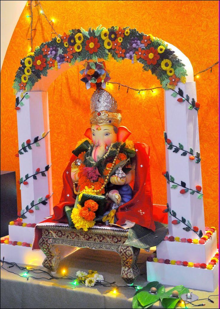 Paper Craft Ganpati  Decoration  Ganapati  decoration