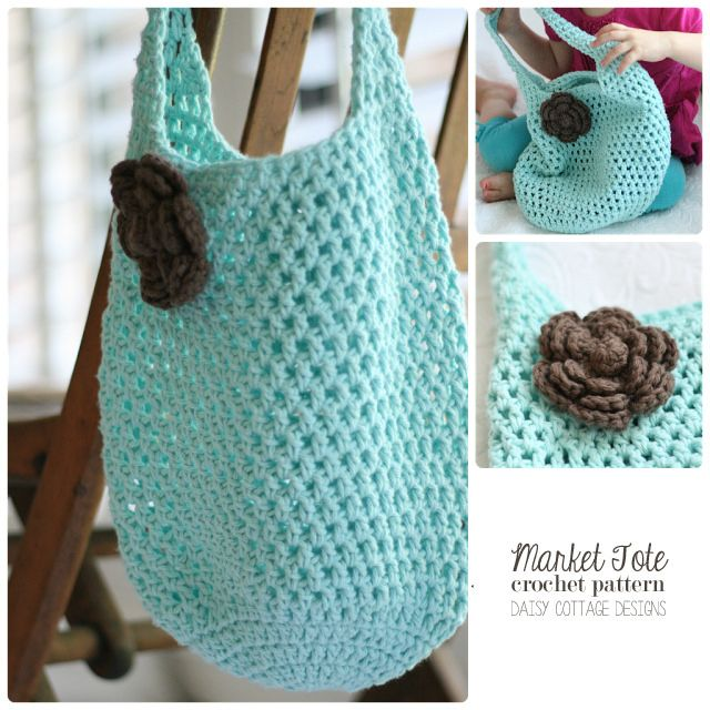 Free Market Tote Crochet Pattern - Daisy Cottage Designs