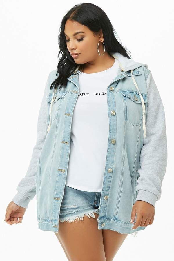 c7eb077db163 Forever 21 Plus Size Hooded Combo Denim Jacket