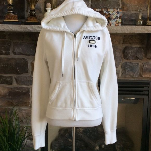 Abercrombie women's Sz Large white zip up hoodie Women's Abercrombie and Fitch zip up hoodie, white. Excellent condition. No spots. Hardly worn. FITs like a MEDIUM. Abercrombie & Fitch Jackets & Coats