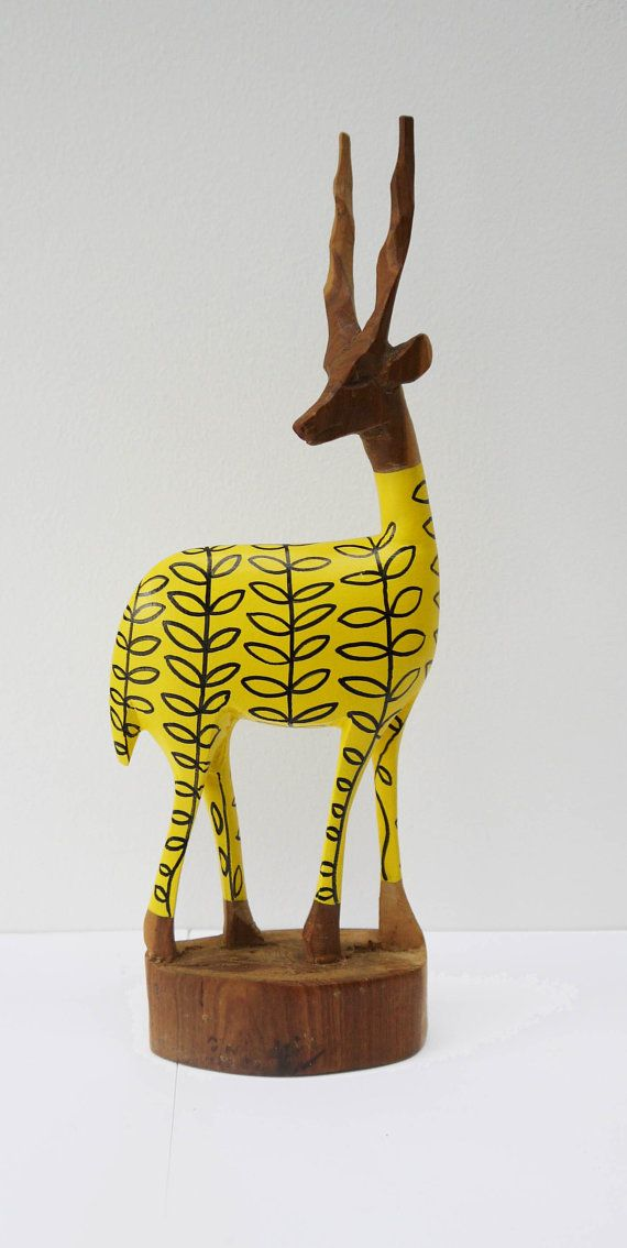 Vintage Retro Original Hand Carved African Hipster Gazelle - Sunshine Yellow Leaf