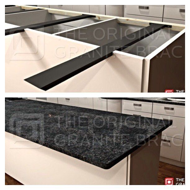 The hidden island support bracket allows for a floating #countertop Another happy customer. #kitchen #construction #madeinusa #igers #trends