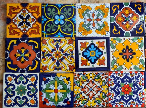 Mexican talavera tile on Etsy at https://www.etsy.com/listing/232150526/48-mexican-talavera-tile-mix