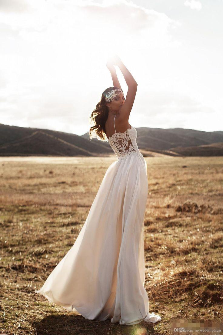 Vintage Summer 2016 Lurelly Beach Lace Wedding Dresses Spaghetti Straps  Chiffon Long Backless Bridal Dresses Plus