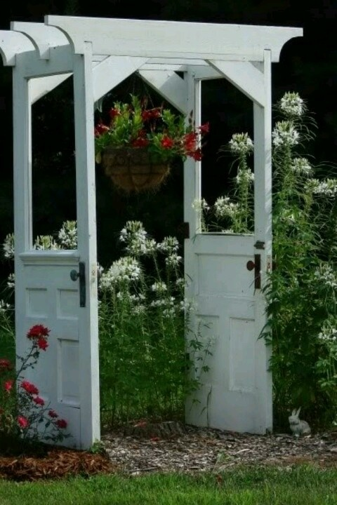 old doors turned into an arbor