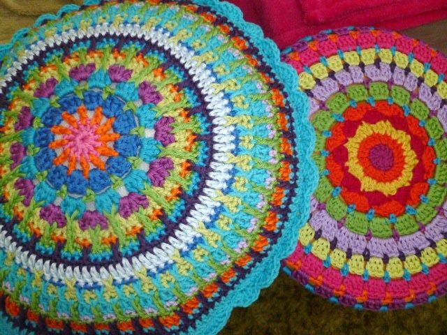 Mandala cushionsPattern Sadness, Crochet Mandalas Cushions, Beautiful, Round Pillows, Huge Circles, Crochet Cushions, Bright Colours, 8Th Gem, Crochet Mandalas Patterns