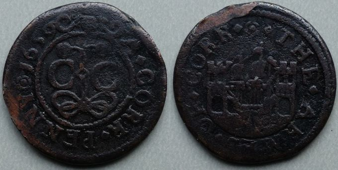 Cork, city issue penny 1659 Obv: (rosette)A.CORK.PENNY(rosette)1659 , around beaded inner circle, C C (City of Cork), ormonde knot below, at the ends of which two flowers appear above C C . Rev: (rosette).THE.ARMES.OF.CORK. , around a ship in full sail between two castles. Ex Josland. M. Dickinson 201