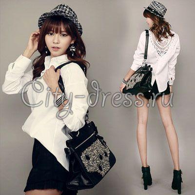 белая блузка с узорами на спине - Блузки - City-Dress.ru