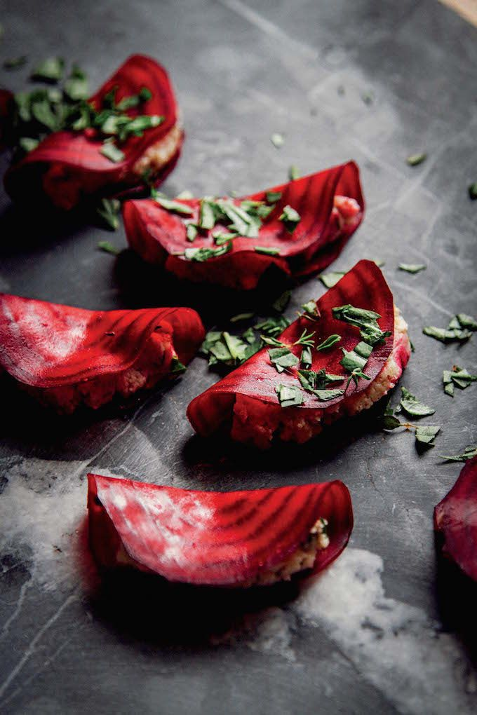 One of my favorite recipes for REAL. These raw beet ravioli are decadent + beautiful, but secretly easy to make. You'll LOVE the Almond Thyme Pâté filling.