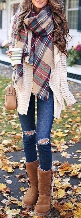 fall outfit ideas / plaid scarf knit cardigan.... Not pants or boots.