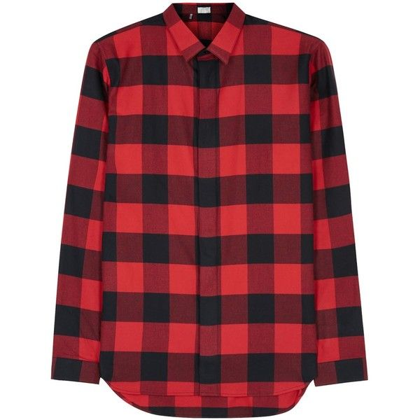 Dior Homme Red checked flannel shirt ($520) ❤ liked on Polyvore featuring men's fashion, men's clothing, men's shirts, men's casual shirts, mens checkered shirts, mens red flannel shirt, mens checked shirts, mens flannel shirts and mens red checked shirt