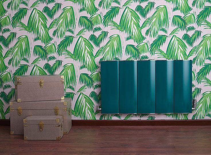 Interior design and furniture photography.  #greenradiator #greenwallpaper #summerdesign #tropical #tripicalphoto #radiator #setdesign #setbuild #studiophotogrpahy