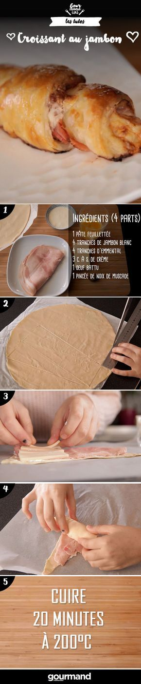 On récapitule : 1. Découper des triangles dans la pâte feuilletée. 2. Tartiner de crème fraîche, disposer une tranche de jambon et une tranche emmental. 3. Ajouter la noix de muscade. 4. Rouler la pâte comme un croissant. 5. Badigeonner d'œuf battu. 6. Enfourner à 200° pendant 20 minutes.