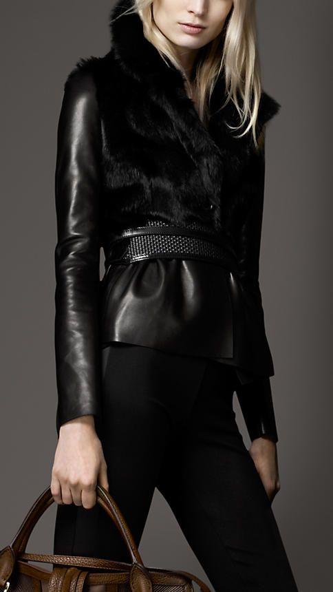 Burberry fur trim peplum leather jacket