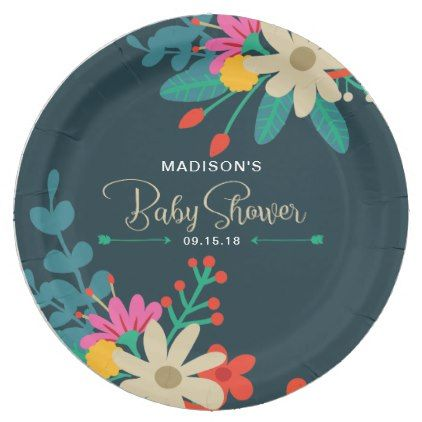 #floral - #Whimsical Floral Paper Plates for Baby Shower