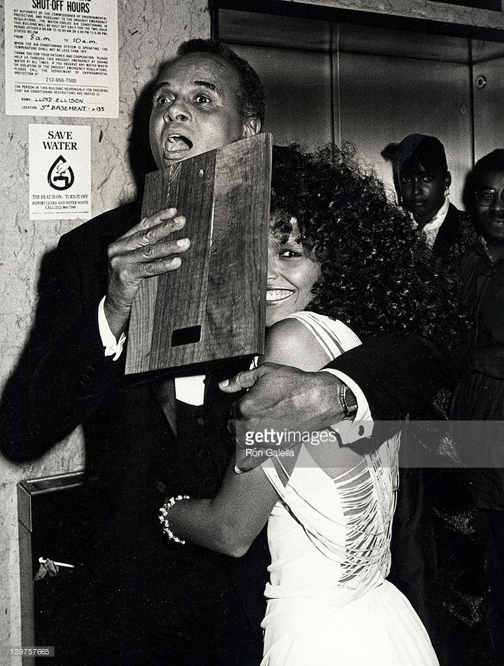 Singer Harry Belafonte and Shari Belafonte attend Firstst Annual Film Fun Lifetime Achievement Awards on October 23, 1985 at the Ziegfeld Theater in New York City.